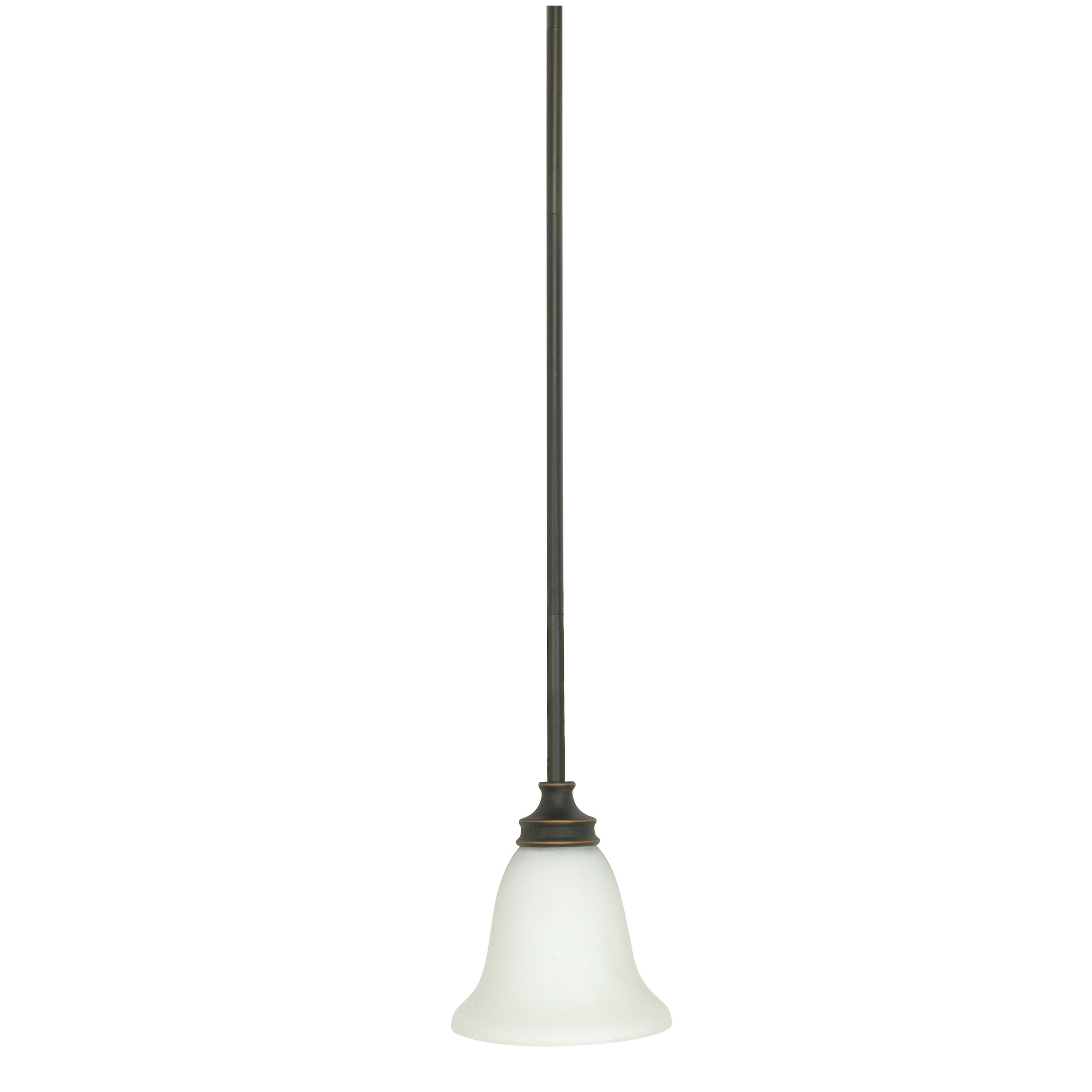 Bistro 1 Light Rustic Bronze w/ Satin White Mini Pendant