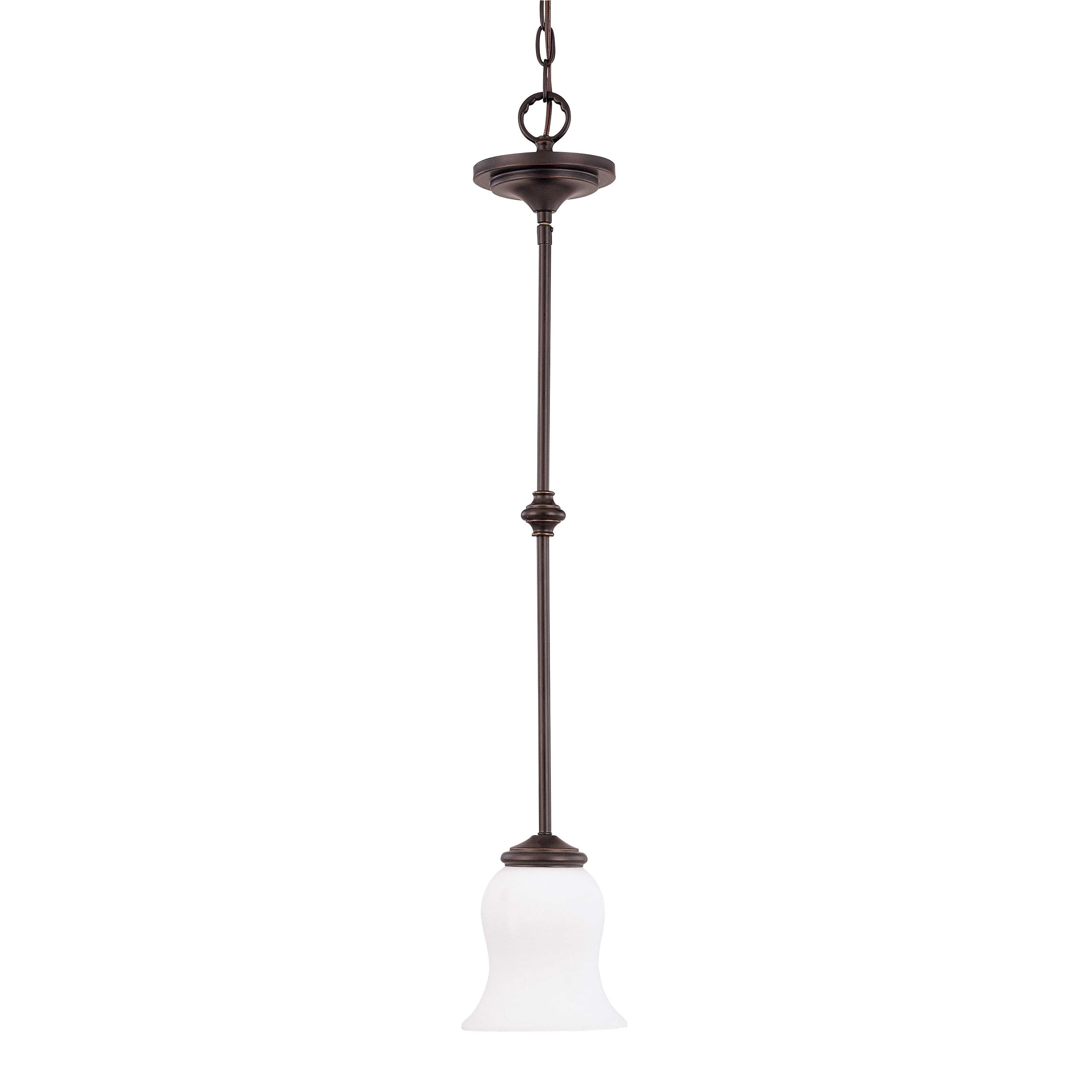 Glenwood 1 Light Sudbury Bronze With Satin White Glass Mini Pendant