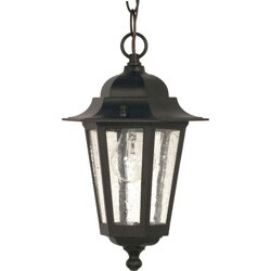 Cornerstone 1 Light Textured Black With Clear Seed Hanging Lantern