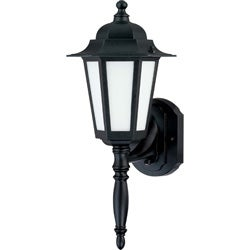 Cornerstone 1 Light Textured Black With Satin White Glass Wall Lantern