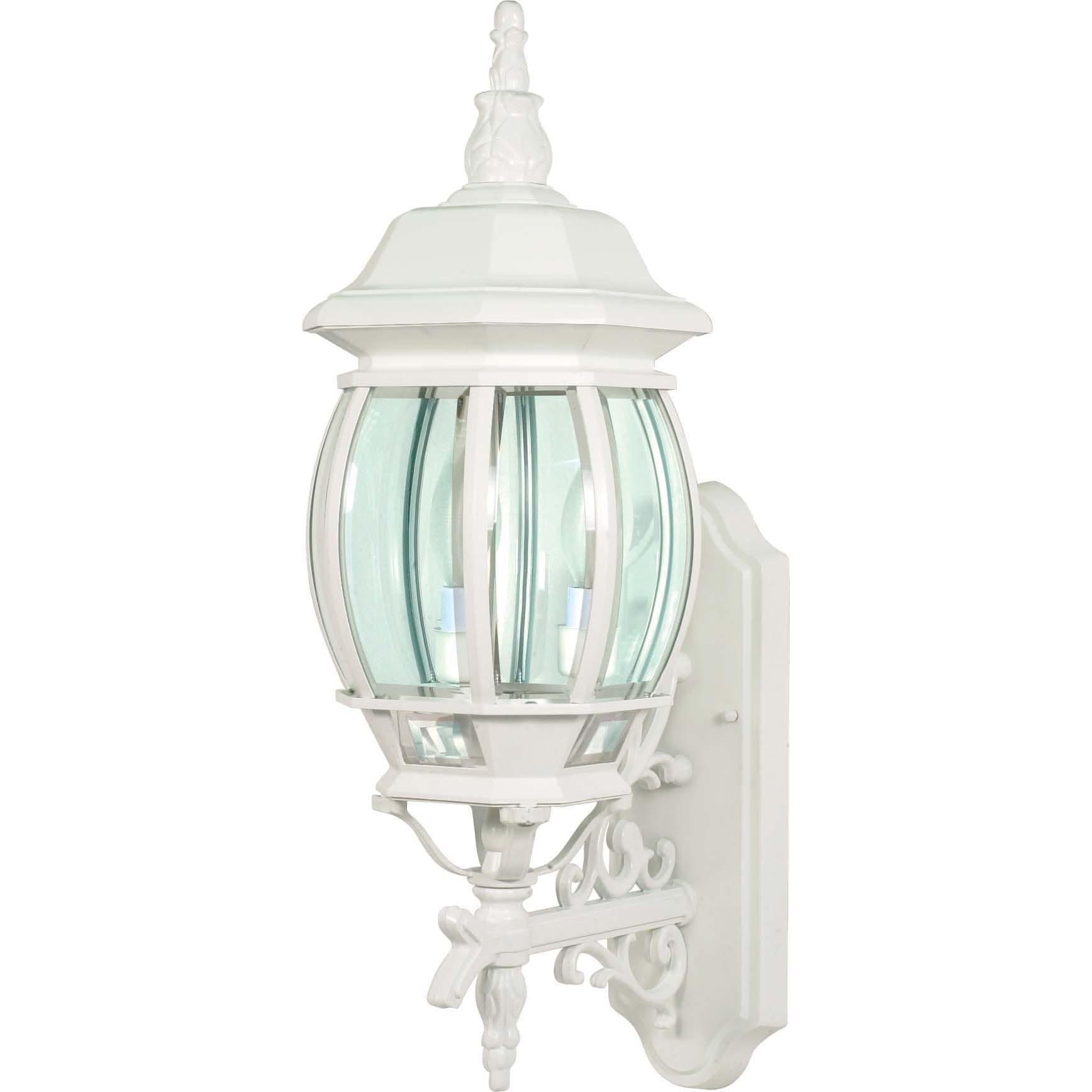 Central Park 3 Light White With Clear Beveled Panels Wall Lantern