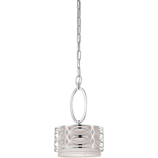 Harlow Nickel with Slate Grey Fabric Shade 1-light Mini Pendant Polished - Thumbnail 0