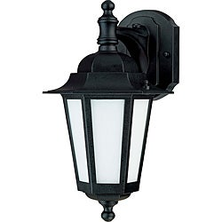 Cornerstone Textured Black with Satin White Glass 1-light Wall Lantern