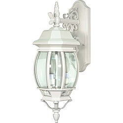 Central Park White with Clear Beveled Panels 3-light Wall Lantern