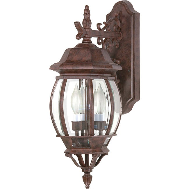 Central Park Old Bronze with Clear Beveled Panels 3-light Wall Lantern