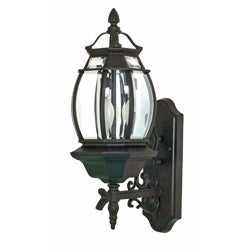 Central Park 3-light Textured Black/ Clear Outdoor Wall Lantern