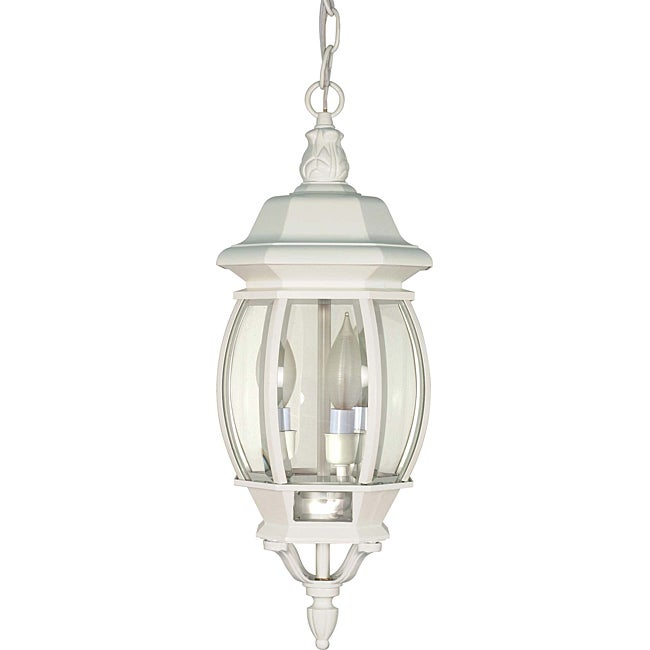 Central Park White with Clear Beveled Panels 3-light Hanging Lantern