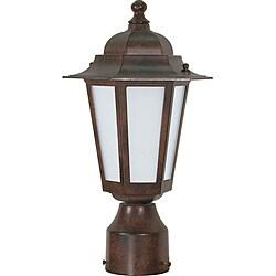 Cornerstone Old Bronze with Satin White Glass 1-light Post Lantern