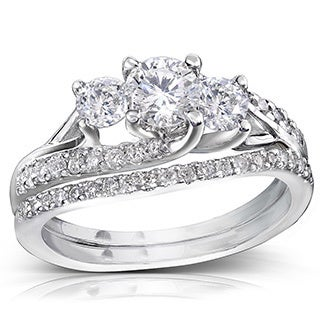 Annello by Kobelli 14k Gold 1 1/10ct TDW Diamond Bridal Rings Set (H-I, I1-I2)