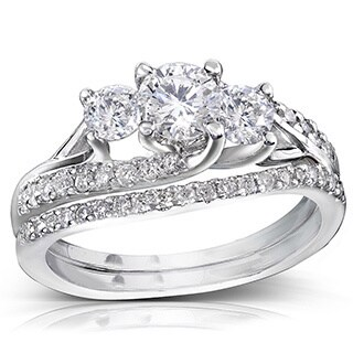 Annello 14k Gold 1 1/10ct TDW Diamond Bridal Rings Set (More options available)