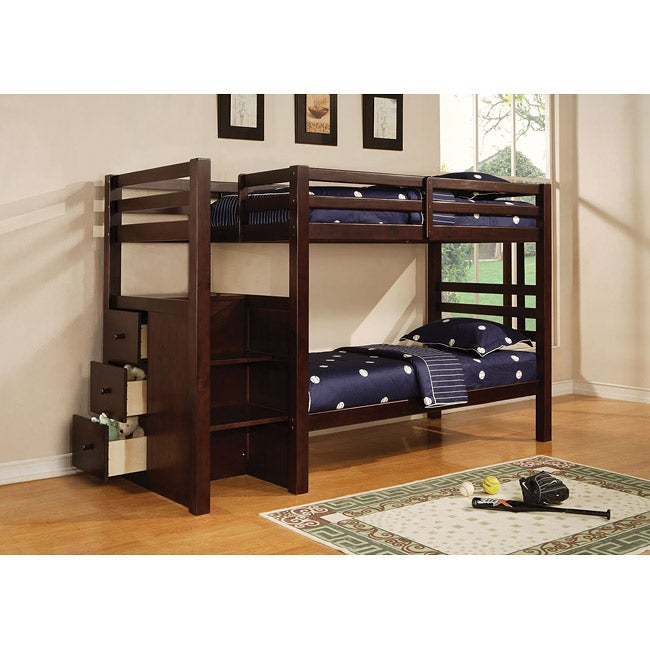 Bradyn Espresso Finish Twin Bunk Bed With Storage Ladder