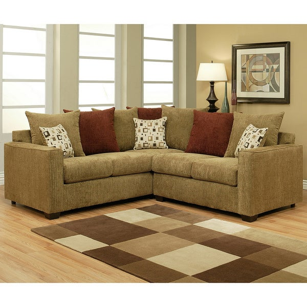 Furniture of America Evan 2 Piece Bronze Sectional Sofa Set