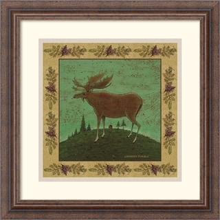 Framed Art Print 'Folk Moose' by Warren Kimble 16 x 16-inch