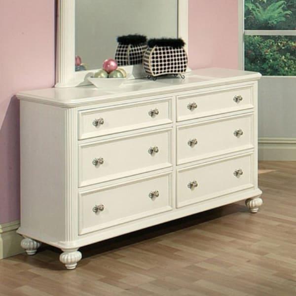 athena white 6drawer dresser