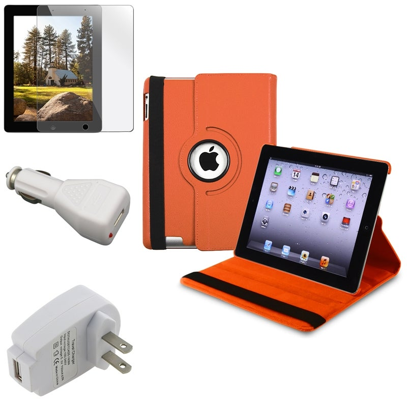 INSTEN Orange Leather Tablet Case Cover/ Screen Protector/ Chargers for Apple iPad 3