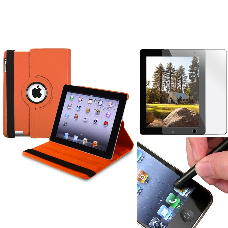 INSTEN Orange Swivel Leather Tablet Case Cover/ Screen Protector/ Stylus for Apple iPad 3