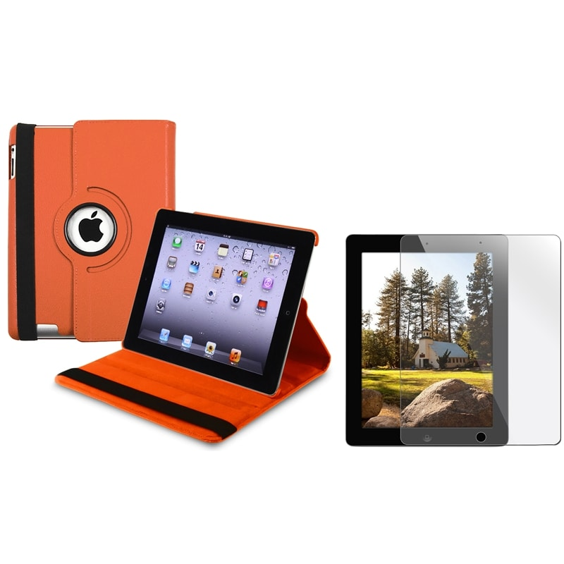 INSTEN Orange Swivel Leather Tablet Case Cover/ Screen Protector for Apple iPad 3