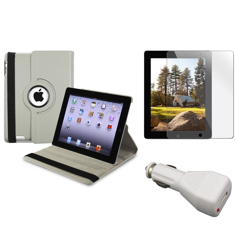 Grey Leather Case/ Screen Protector/ Car Charger for Apple iPad 3 - Thumbnail 0