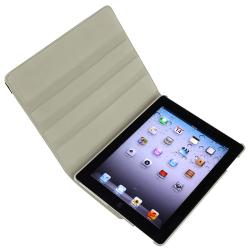 Grey 360-Degree Swivel Leather Case/Screen Protector Bundle for Apple iPad 3