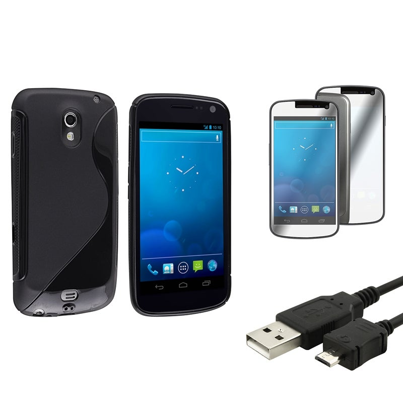 Black TPU Case/Screen Protector/Cable for Samsung Galaxy Nexus 4G i9250