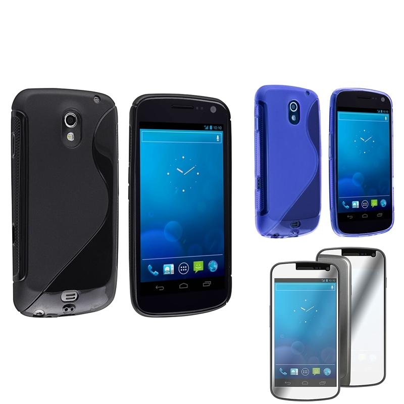 Black/ Blue Case/ Screen Protector for Samsung Galaxy Nexus 4G i9250