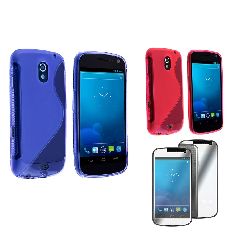 Blue/ Pink Case/ Screen Protector for Samsung Galaxy Nexus 4G i9250