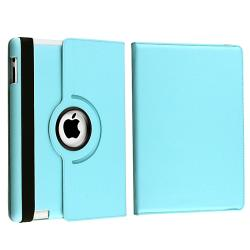 Blue Leather Swivel Case/ LCD Protectors for Apple iPad 3/ New iPad