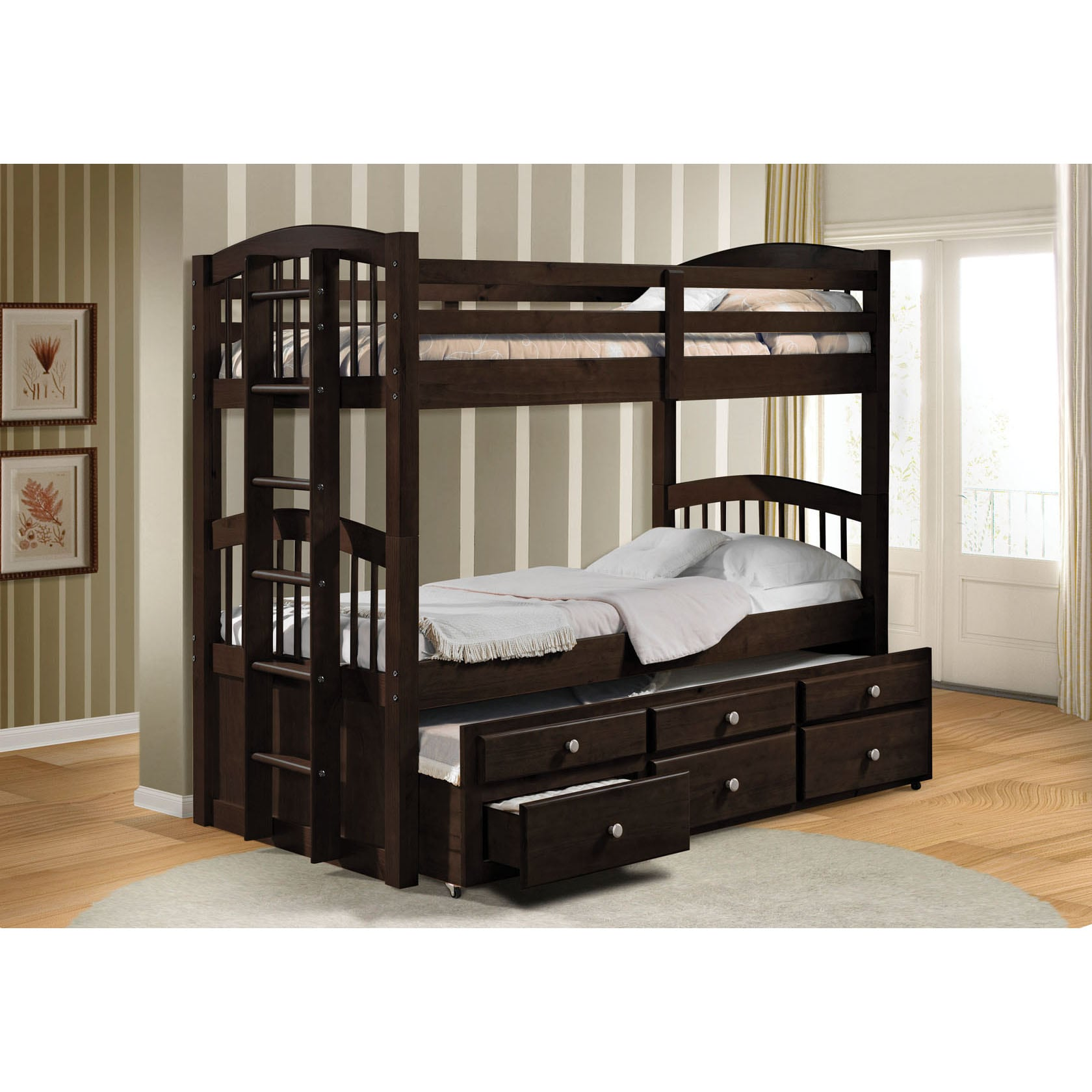 shop micah espresso twin bunk bed with trundle free. Black Bedroom Furniture Sets. Home Design Ideas