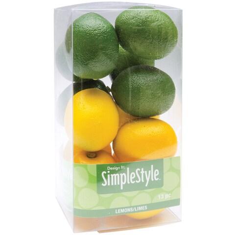 Floracraft Design It Mini Lemon/Lime Plastic Simple Decorative Fruit (13 Count)
