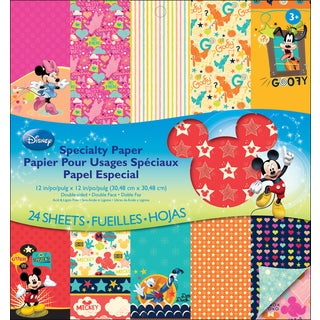 """Disney Double-Sided Specialty Paper Pad 12""""X12"""" 24 Sheets-Mickey Family"""