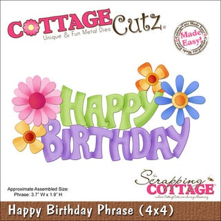 "CottageCutz Die 4""X4""-Happy Birthday Phrase Made Easy"