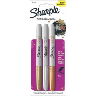 Sharpie Metallic Permanent Markers 3/Pkg-Gold, Silver, Bronze