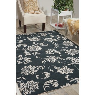 "Nourison Home and Garden Black Indoor/Outdoor Area Rug (5'3"" x 7'5"")"