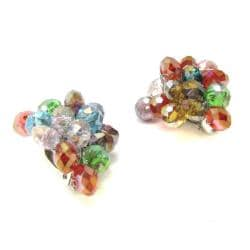 Handmade Tropical Forest Multicolor Crystals Grape Clip On Earrings (Thailand) - Thumbnail 1