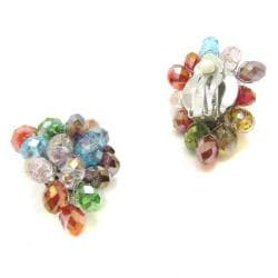 Handmade Tropical Forest Multicolor Crystals Grape Clip On Earrings (Thailand) - Thumbnail 2