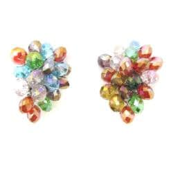 Handmade Tropical Forest Multicolor Crystals Grape Clip On Earrings (Thailand)