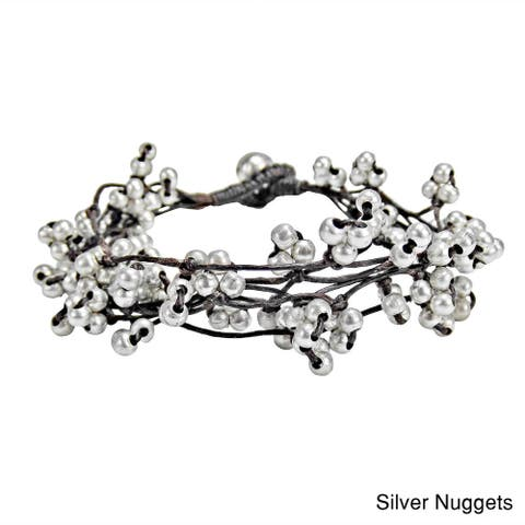Handmade Hip Silver or Brass Nuggets Mesh Layered Cotton Rope Bracelet (Thailand)