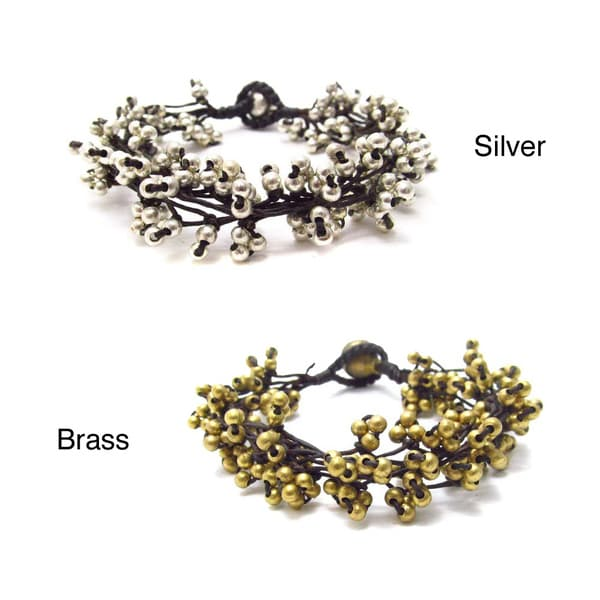 Hip Silver or Brass Nuggets Mesh Layered Cotton Rope Bracelet (Thailand)