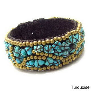 Handmade Turquoise/ Coral/ Mother of Pearl Mosaic Style Cotton Rope Brass Cuff (Thailand)