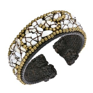 Cotton Rope Pearl Turquoise Synthetic Coral Mosaic Cuff (Thailand)