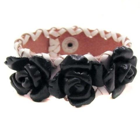 Handmade Sweet Roses Genuine Leather Blooming Floral Bracelet (Thailand)