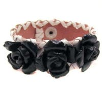 Handmade Sweet Roses Genuine Leather Blooming Floral Bracelet (Thailand)