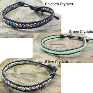 Sweet Crystals Single Strand Leather Bracelet (Thailand)