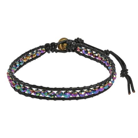 Handmade Sweet Crystals Single Strand Leather Bracelet (Thailand)