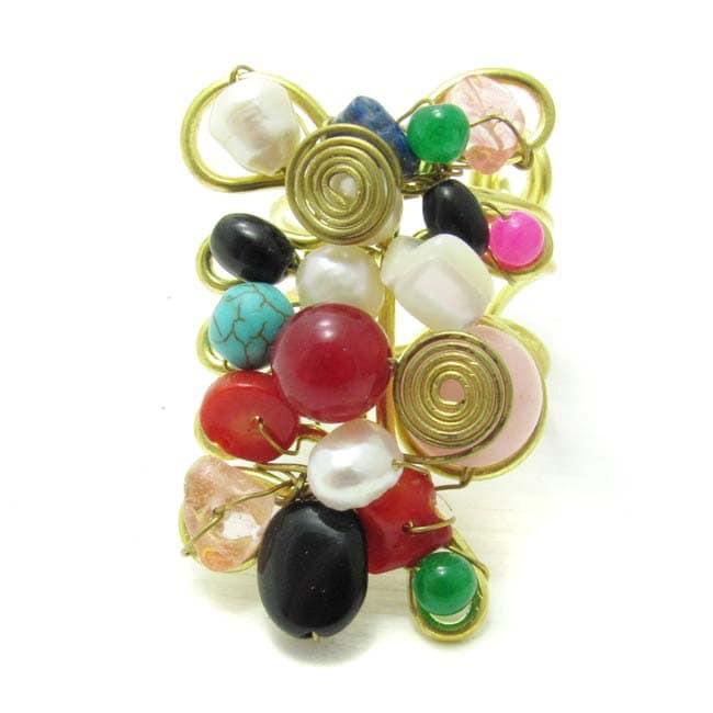 Handmade Mix Stone Adornments Trendy Brass Swirl Free Size Ring (Thailand)