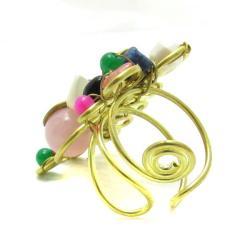 Handmade Mix Stone Adornments Trendy Brass Swirl Free Size Ring (Thailand) - Thumbnail 1