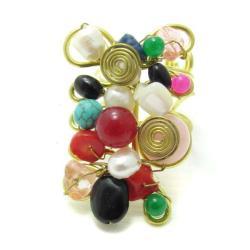 Mix Stone Adornments Trendy Brass Swirl Free Size Ring (Thailand)