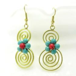 Handmade Spiral Romance Turquoise/ Red Coral Stone Brass Earrings (Thailand) - Thumbnail 1