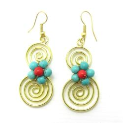 Handmade Spiral Romance Turquoise/ Red Coral Stone Brass Earrings (Thailand)