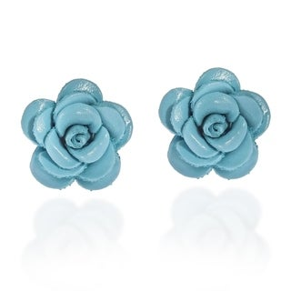 Handmade Blue Rose Passion Genuine Leather Post Earrings (Thailand)